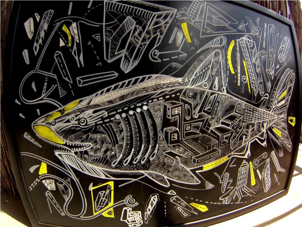 Predatory cruise, acrylic on board, 50 x 70cm, artist Marko Gavrilovic