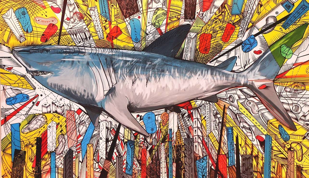 Acrylic painting of shark in the city