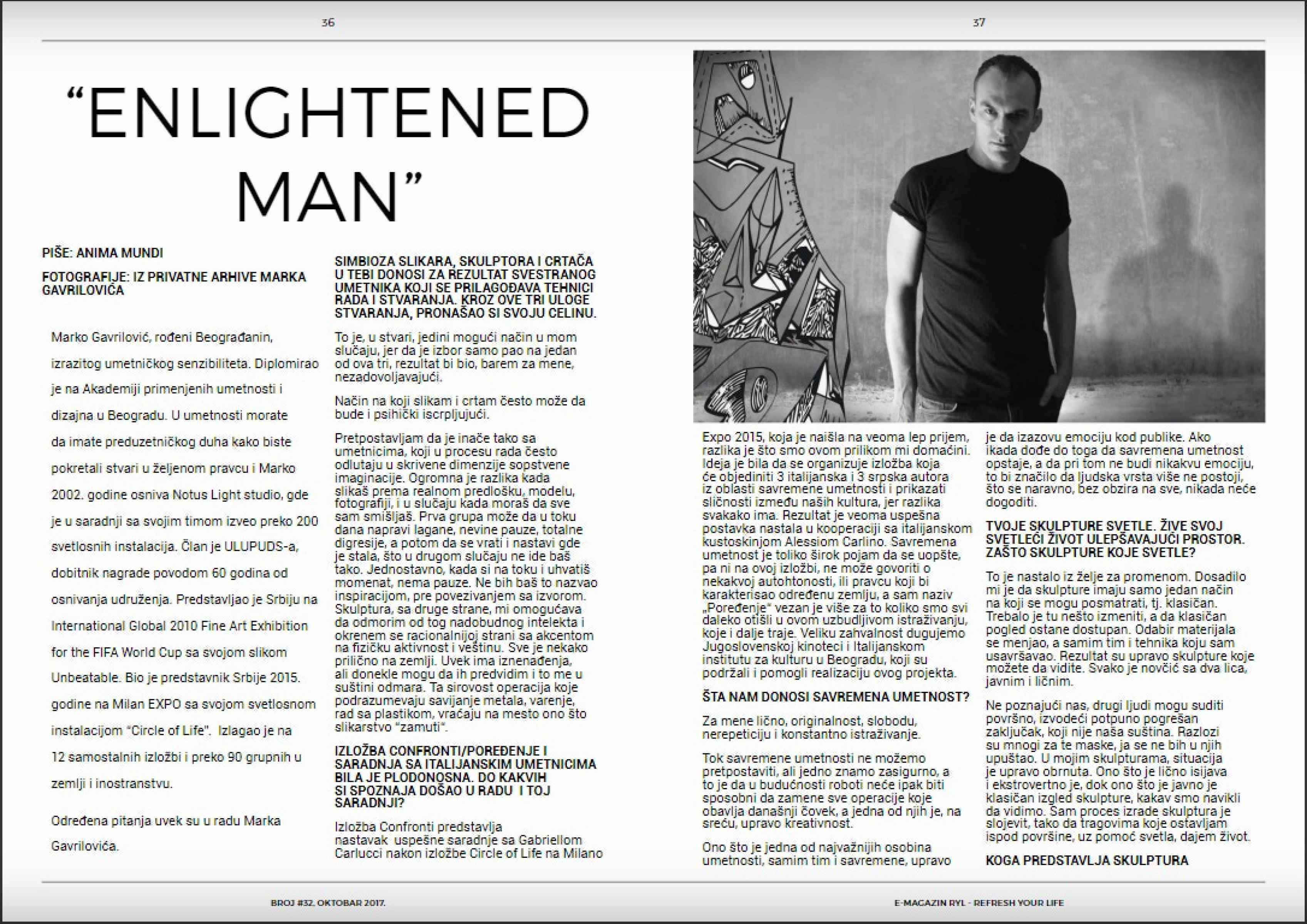 Artist Marko Gavrilovic interview for RYL Magazine