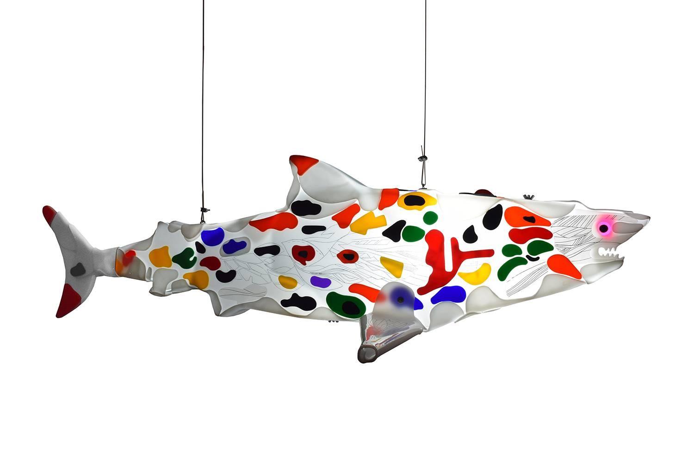Imaginative wanderer 2 is a shark light sculpture
