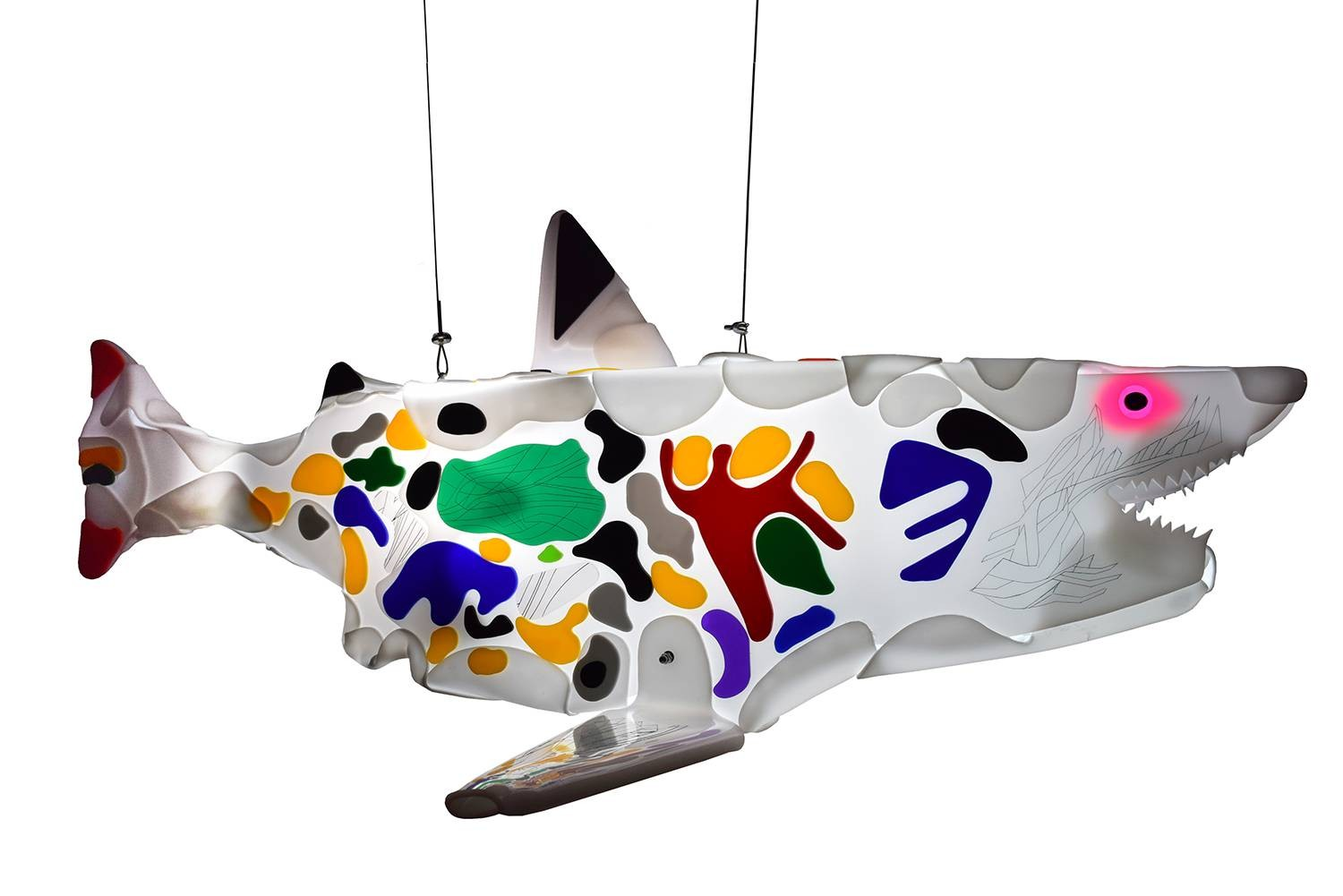 Guided by instinct 2 is one of shark light sculptures.
