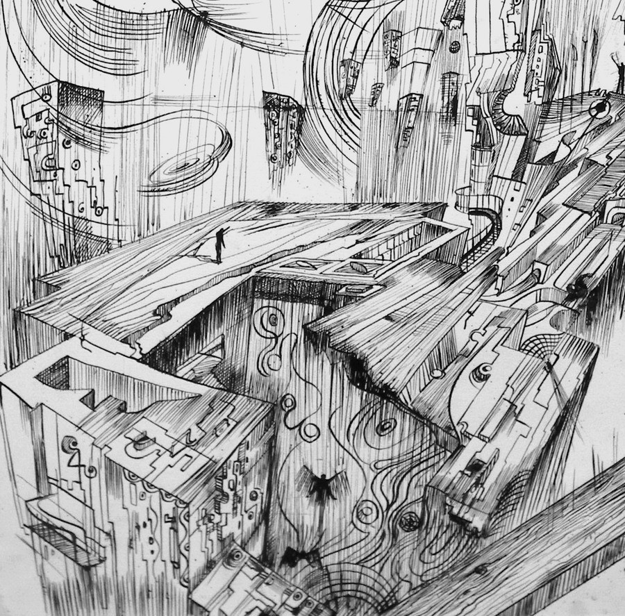 This a detail of ink drawing called Another World