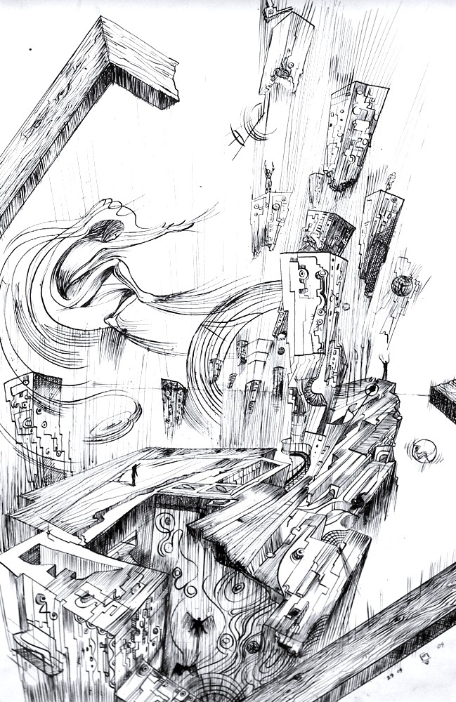 Another World, ink drawing on paper by Marko Gavrilovic