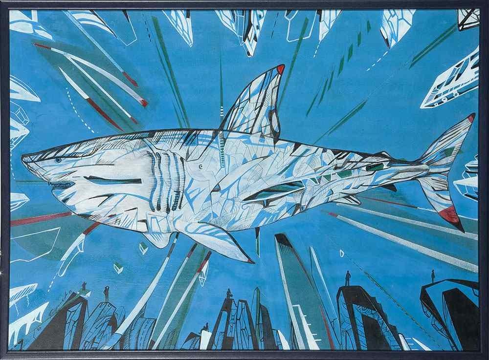 Blue shark, shark painting on board