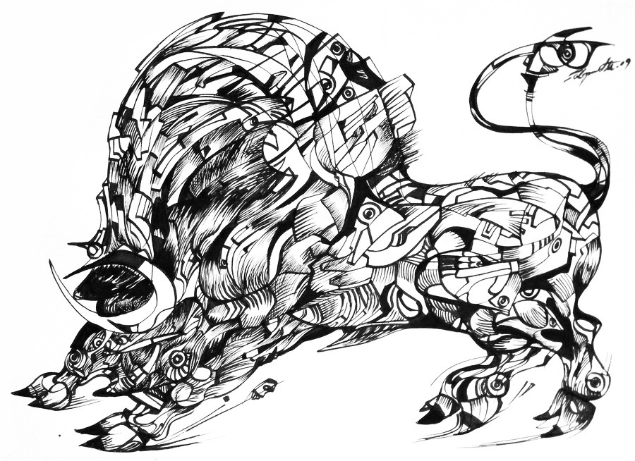 Bull in run, ink on paper from ink and me series