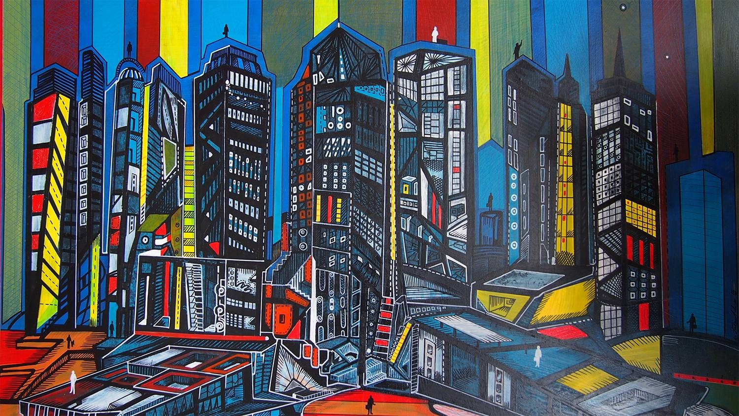 City Stripes is a painting of a city in a technique of acrylic made on board.