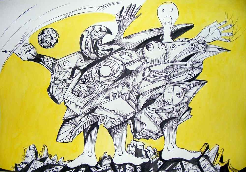 City family, ink on paper, black and yellow drawings