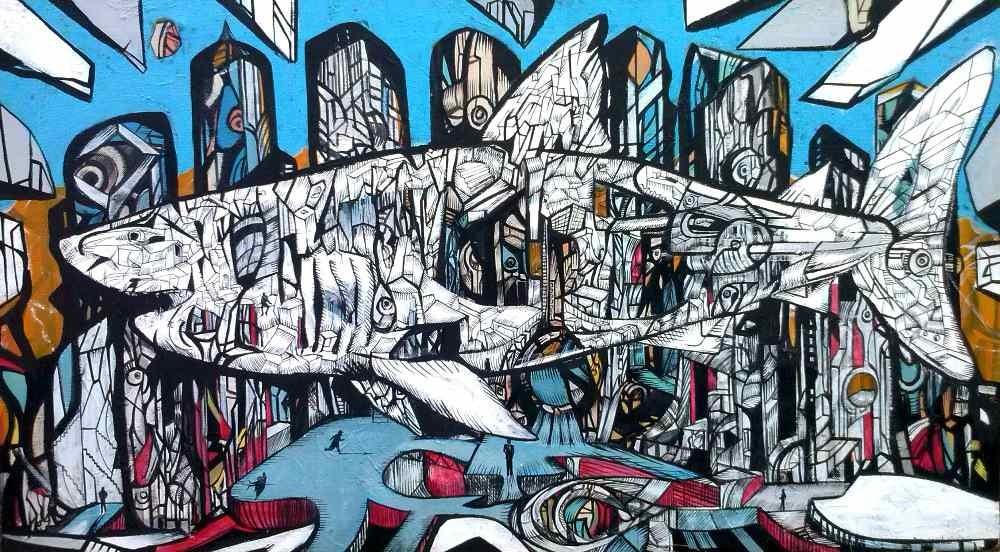City shark 1, acrylic on canvas, shark paintings series