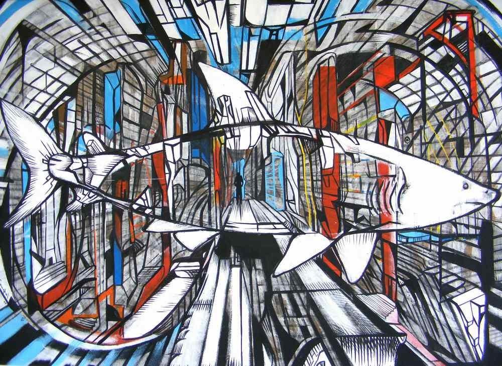 City shark 2, acrylic on board, shark paintings