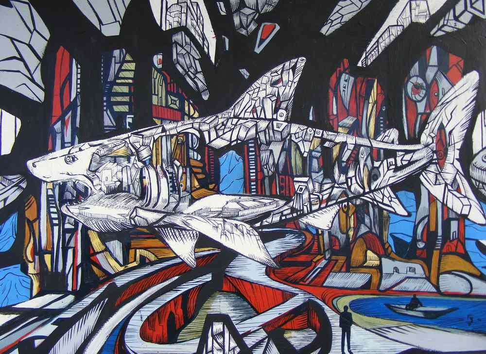 City white is a shark painting in acrylic by Marko Gavrilovic