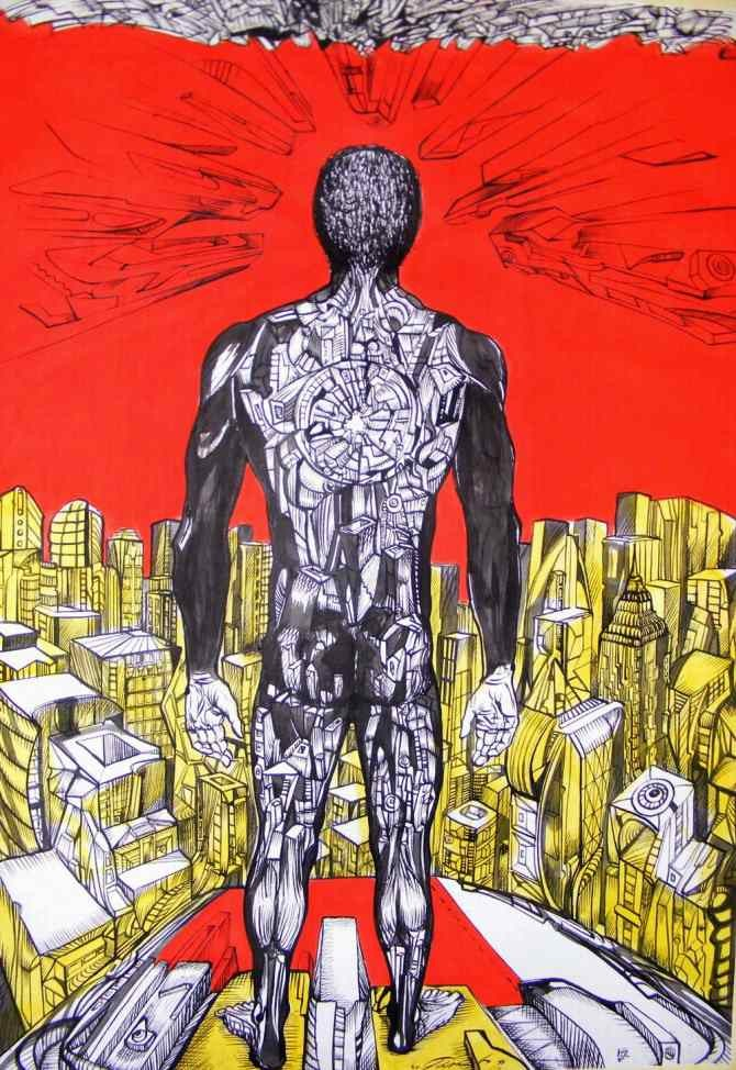 Distance 2 is a painting of a man that looks into the city of future.