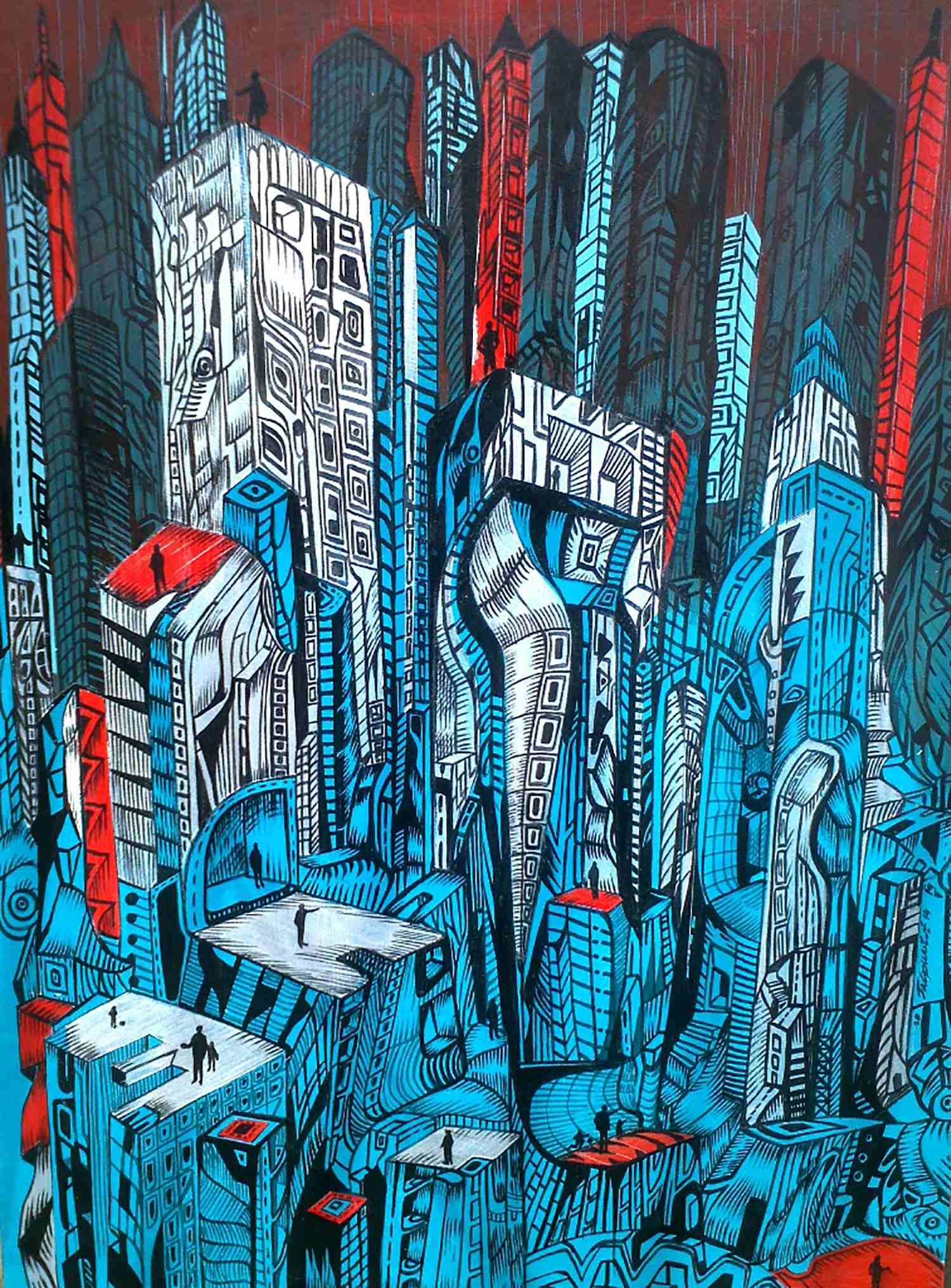 A painting of a futuristic city made with acrylic.