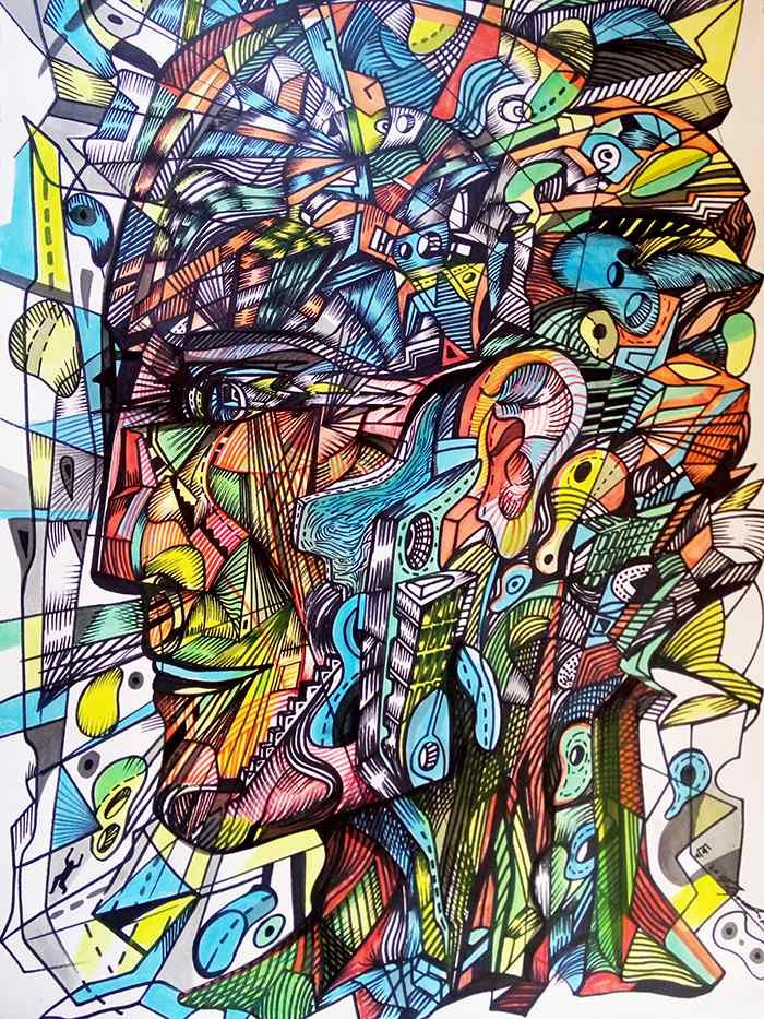 The enlightened man is an acrylic painting of a man's head filled with elements of the city.