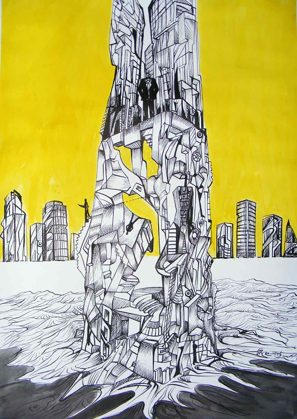 Going to the top, ink drawing by Marko Gavrilovic