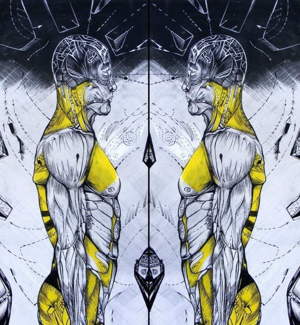 I investigate myself, anatomy acrylic drawing on board by Marko Gavrilovic