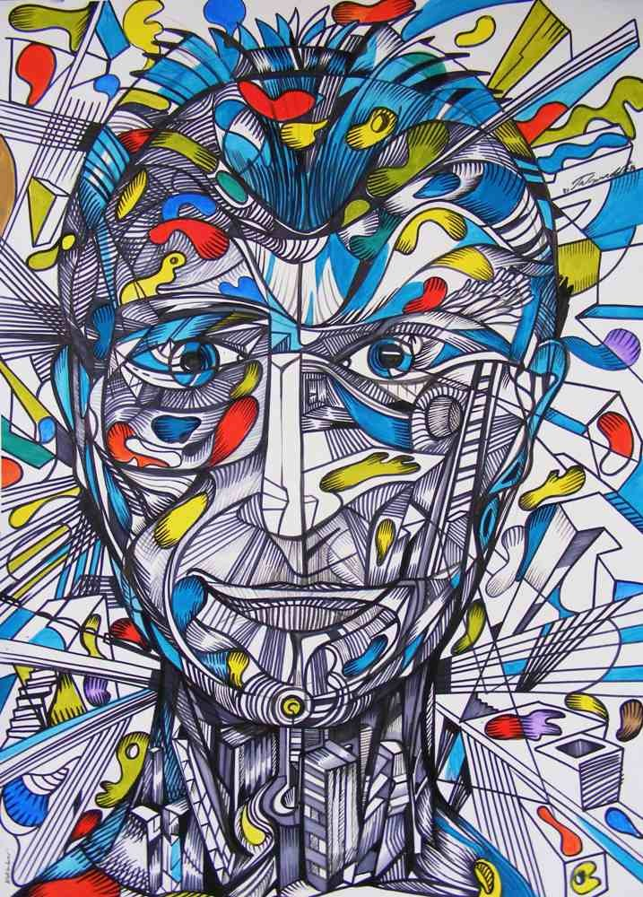Julies is a portrait of a man with blue lines and colors from the city of man series.