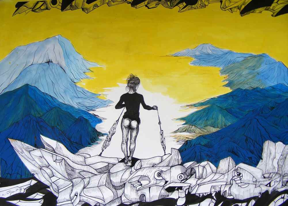 Lady on the hills, ink and yellow acrylic on ppaper