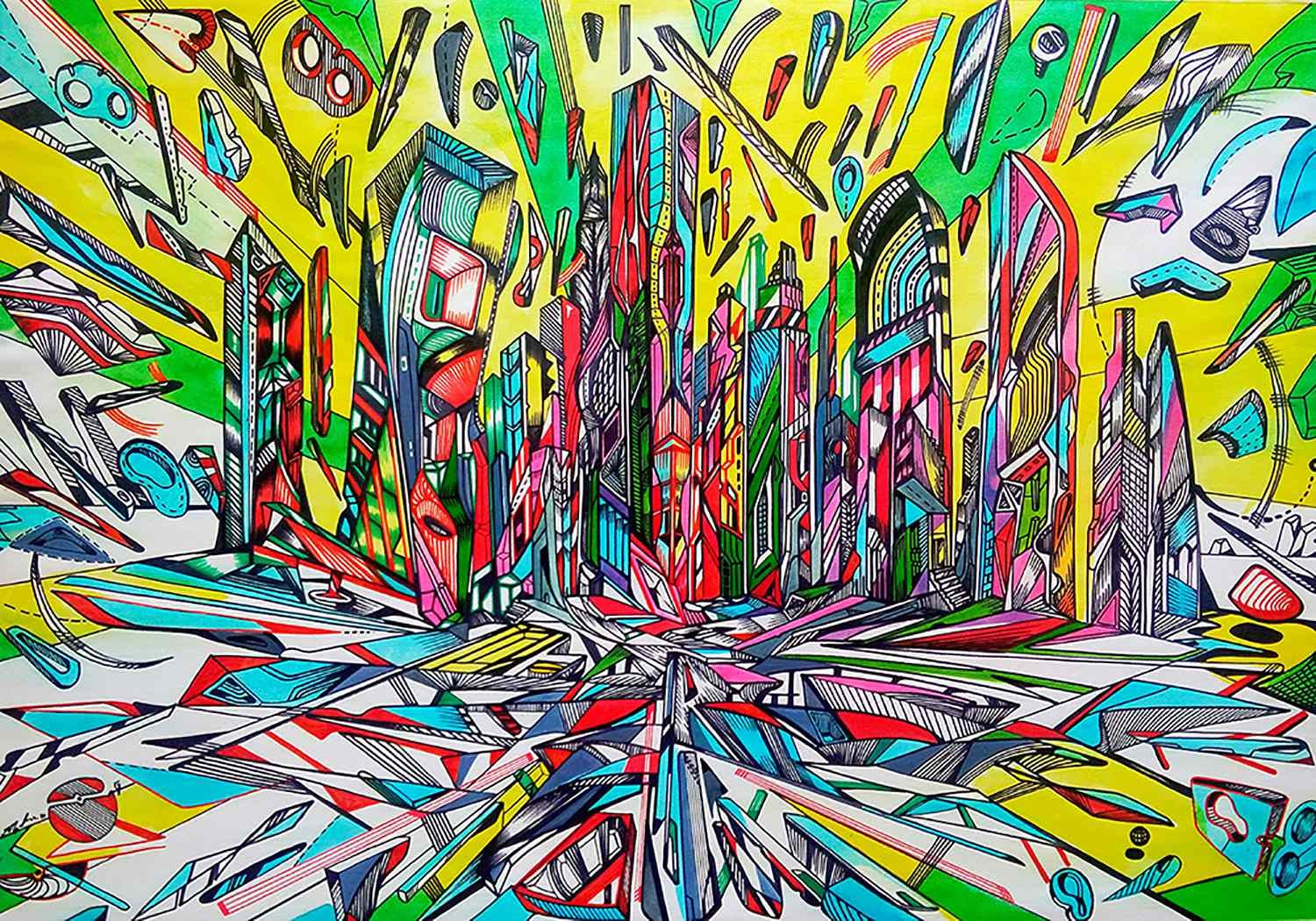 Let the rivers run, acrylic painting of the city by Marko Gavrilovic