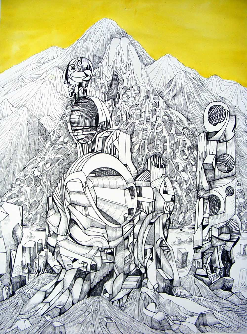 Lost civilisation, ink and yellow acrylic on paper by Marko Gavrilovic