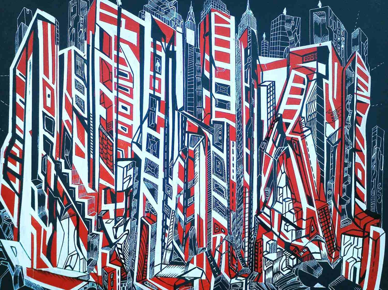 Mr. City is a black and red painting of city skyline.