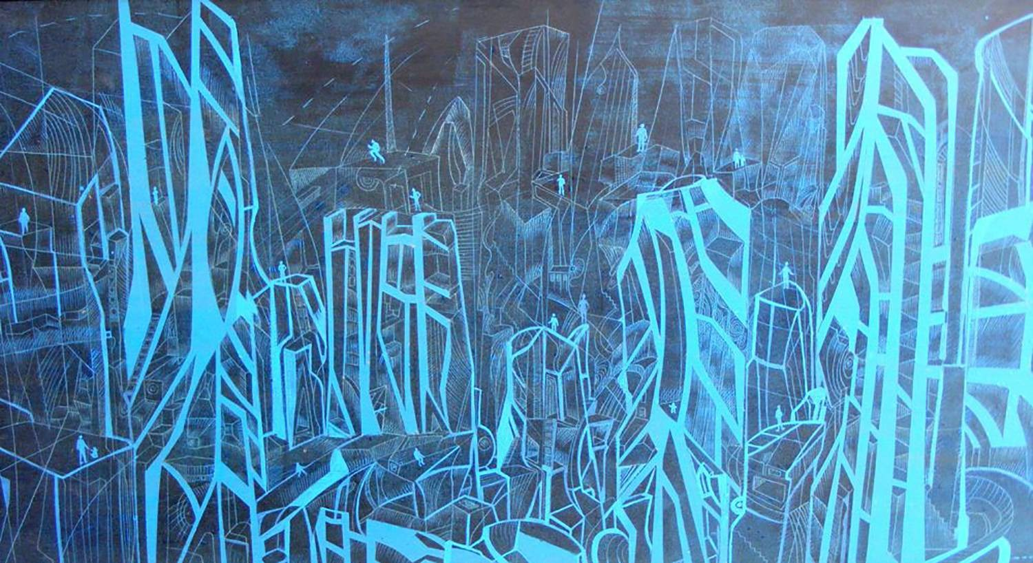 My blue town is a ork in acrylic from city painting seeries