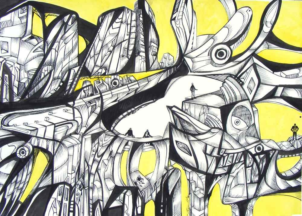 New World creators, ink on paper from black and yellow drawing series.