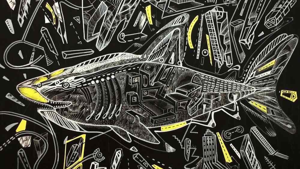 Predatory cruise, acrylic on board by artist Marko Gavrilovic
