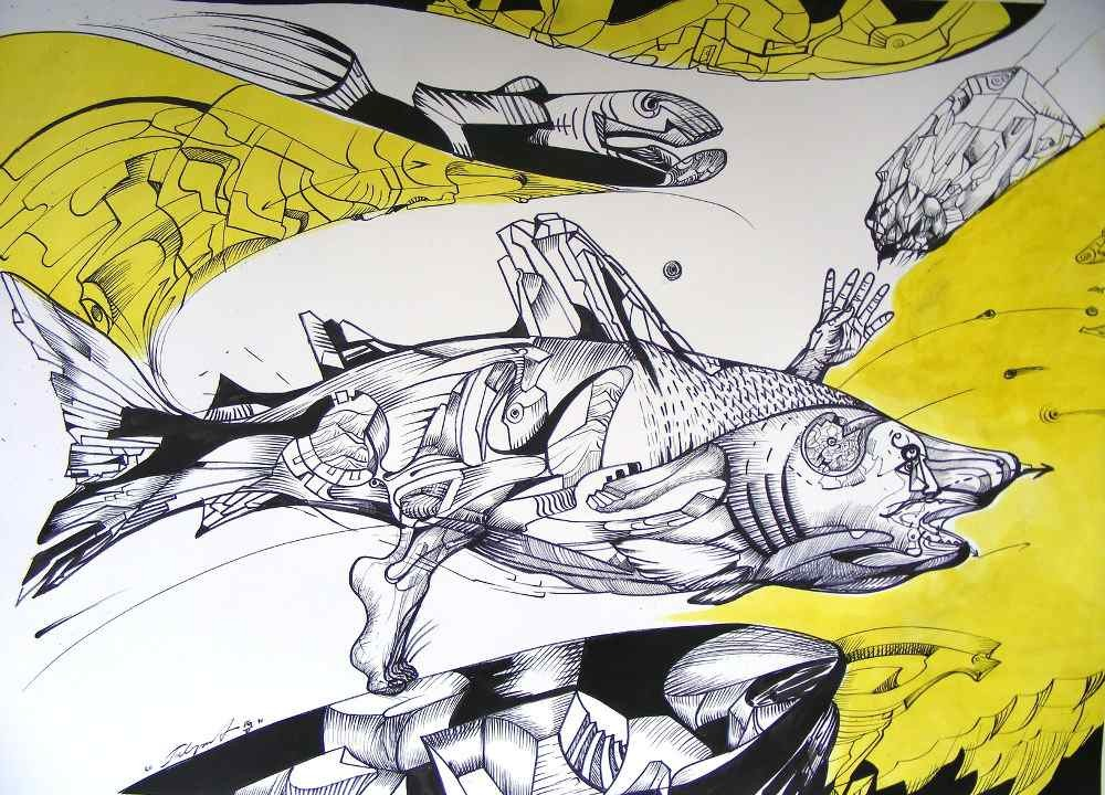 shark 1, ink and yellow acrylic on paper