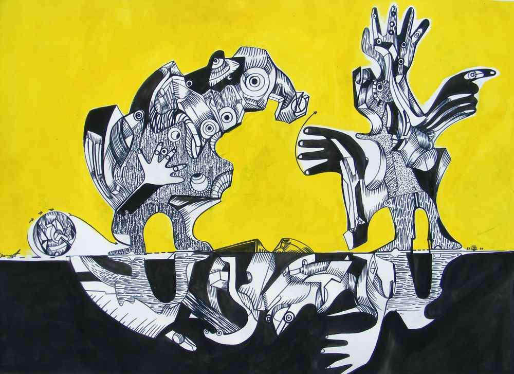 Strange conversation, ink drawing by artist Marko Gavrilovic