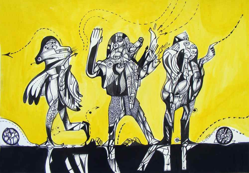 Strange people,ink on paper, black and yellow drawings