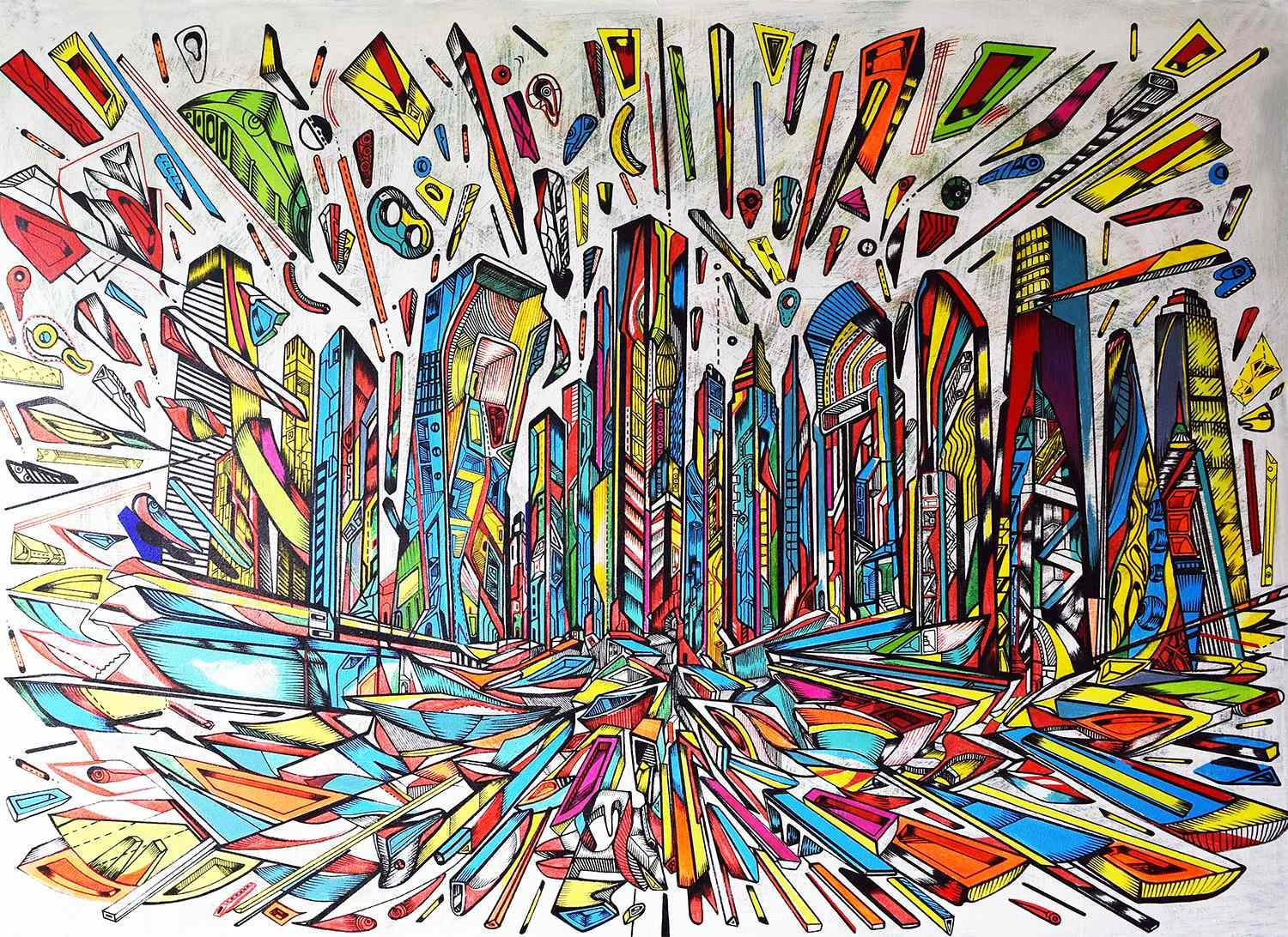 The Flow is a futuristic and abstract city painting by Marko Gavrilovic from City paintings series.