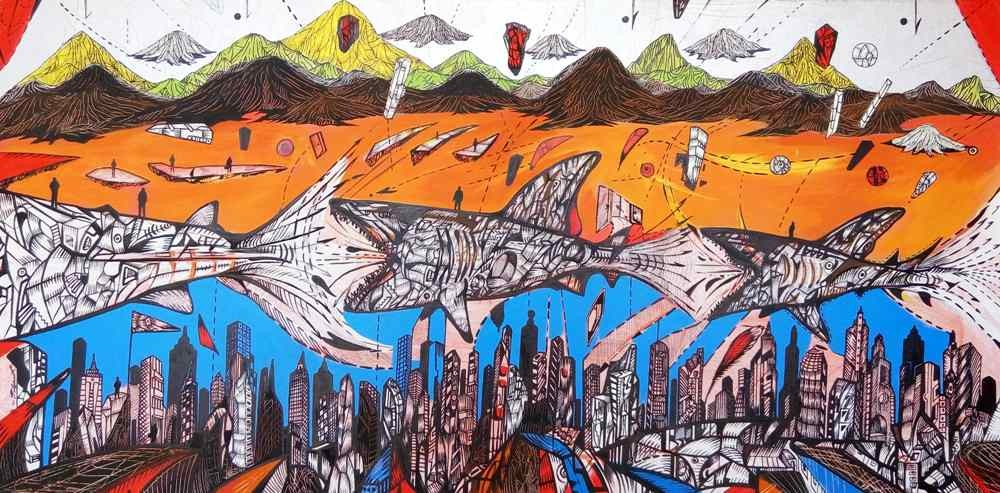 The World of sharks, acrylic on canvas work by artist Marko Gavrilovic