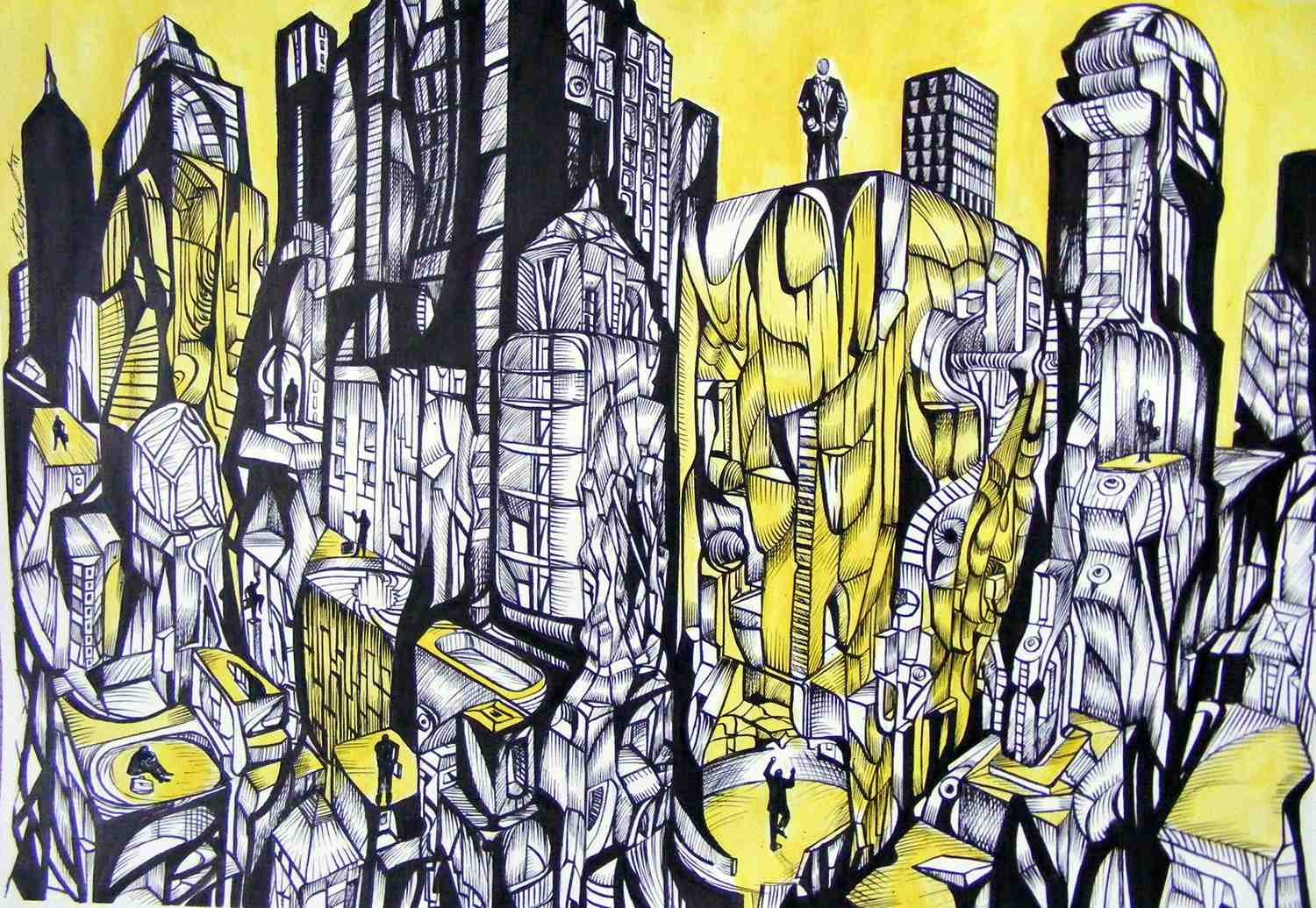 The city of men, acrylic drawing on canvas by artist Marko Gavrilovic.