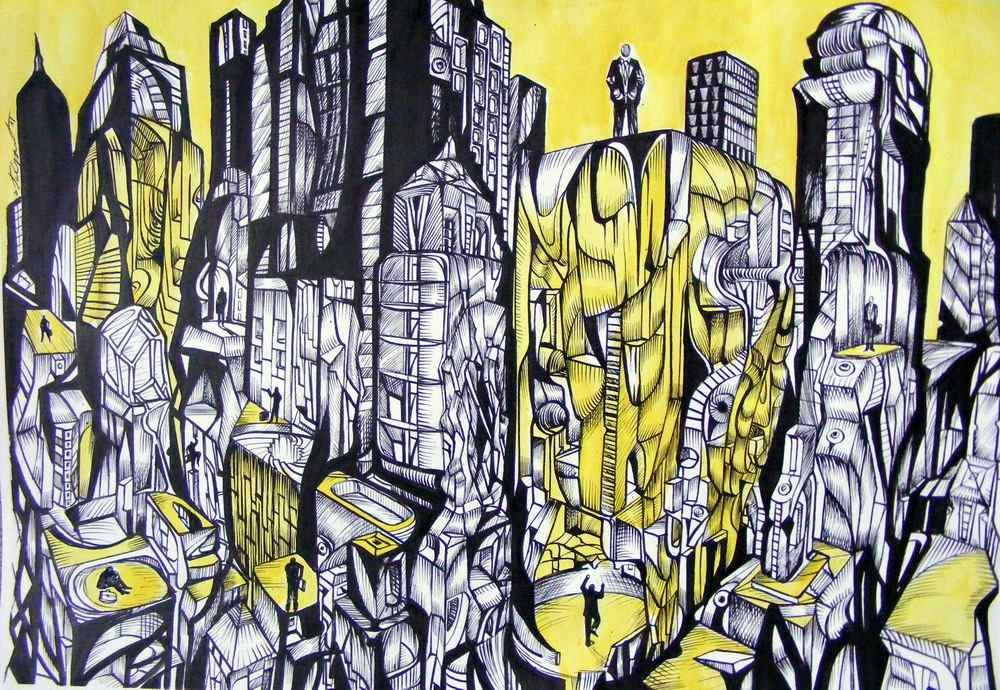 The city of men, acrylic drawing on canvas by artist Marko Gavrilovic