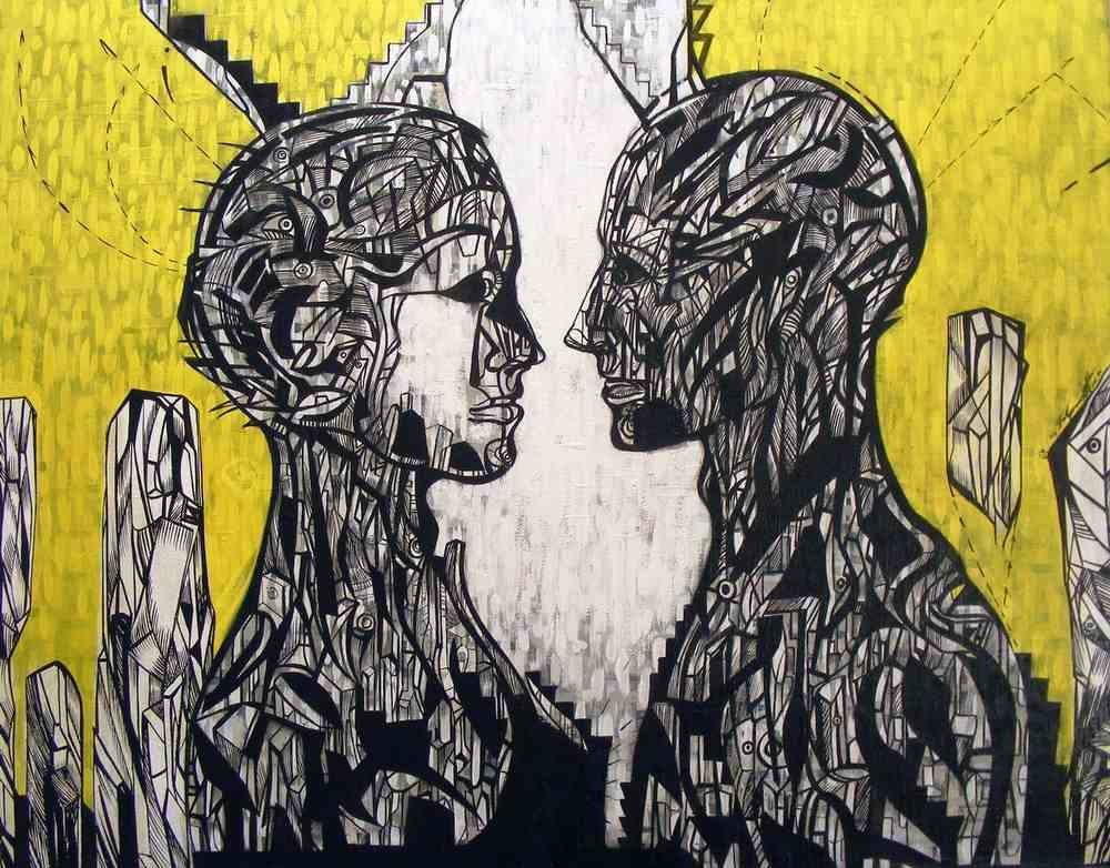 This is a painting of a couple looking at each other.