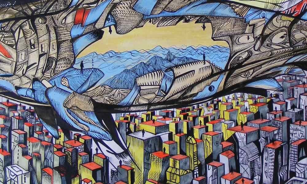 There is an endless sea inside, shark painting a detail 1