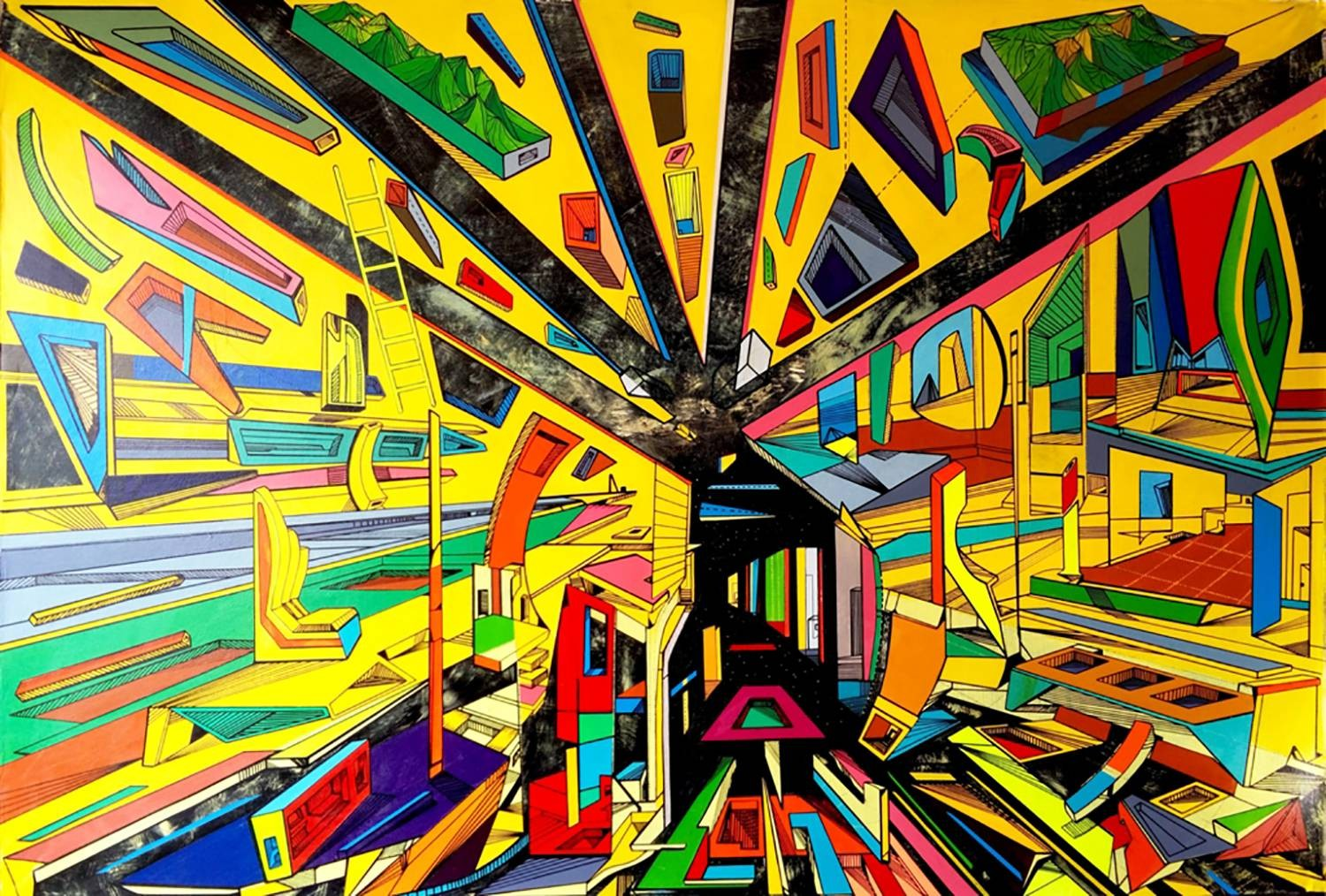 Through the passage is multidimensional painting on canvas by artist Marko Gavrilovic.