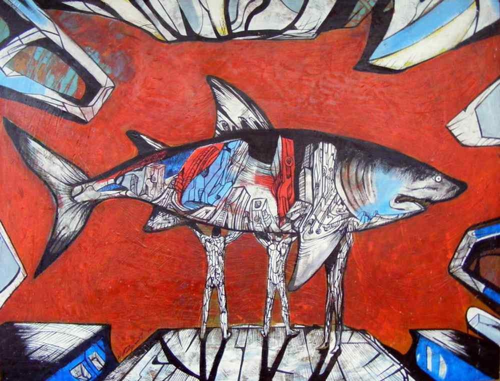 What about the last one, acrylic on board from a shark paintings series