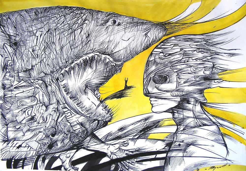 What is fear, ink drawing of a man facing a big shark