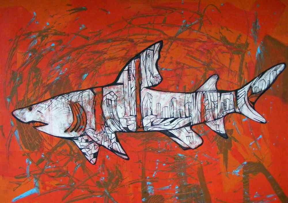 White city shark, shark paintings series