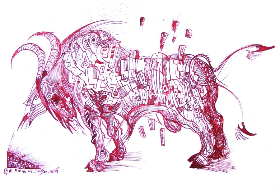 Symbiosis is a bull drawing on paper made with red ink
