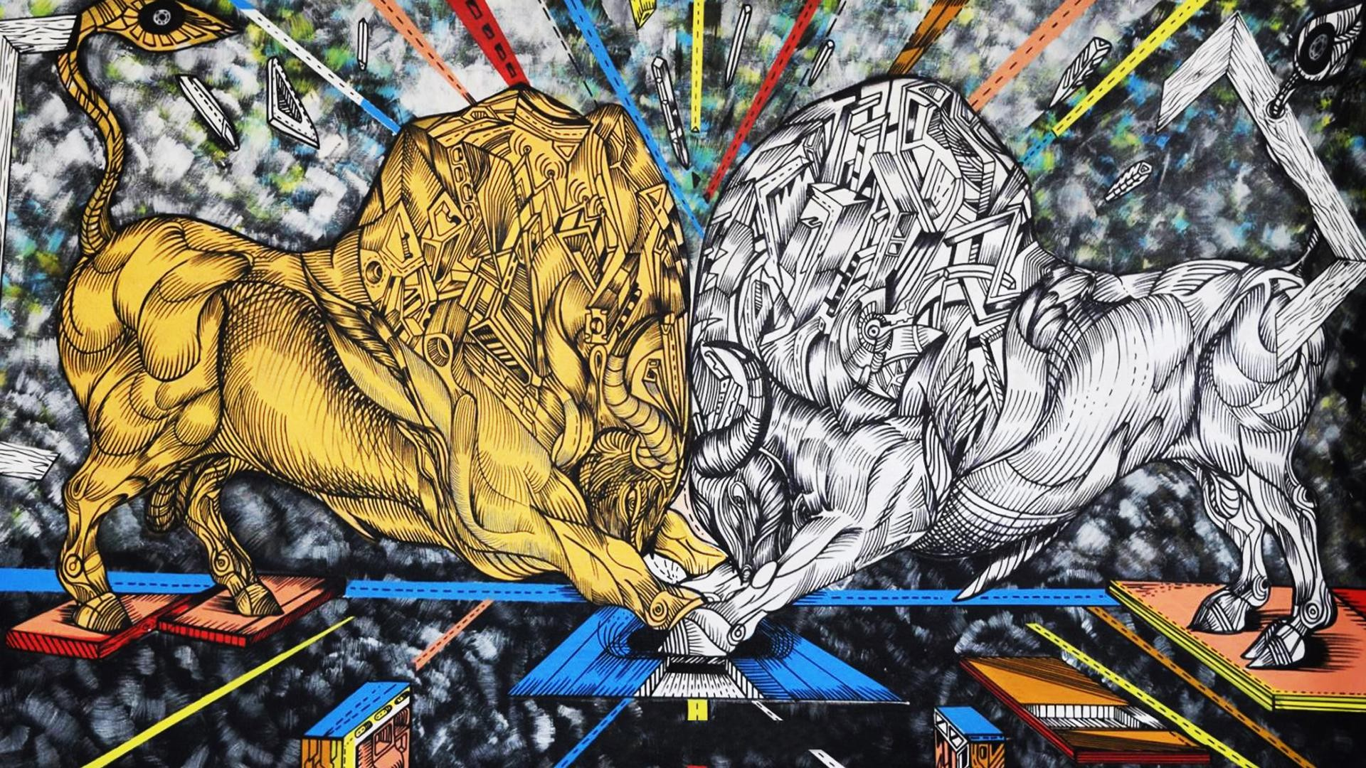 Gold versus Silver, acrylic on canvas