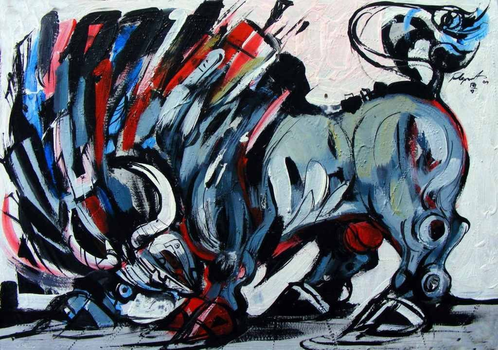 Against the wind is a bull painting