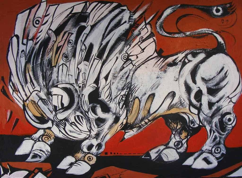Against the wind is a white bull painted in acryilic