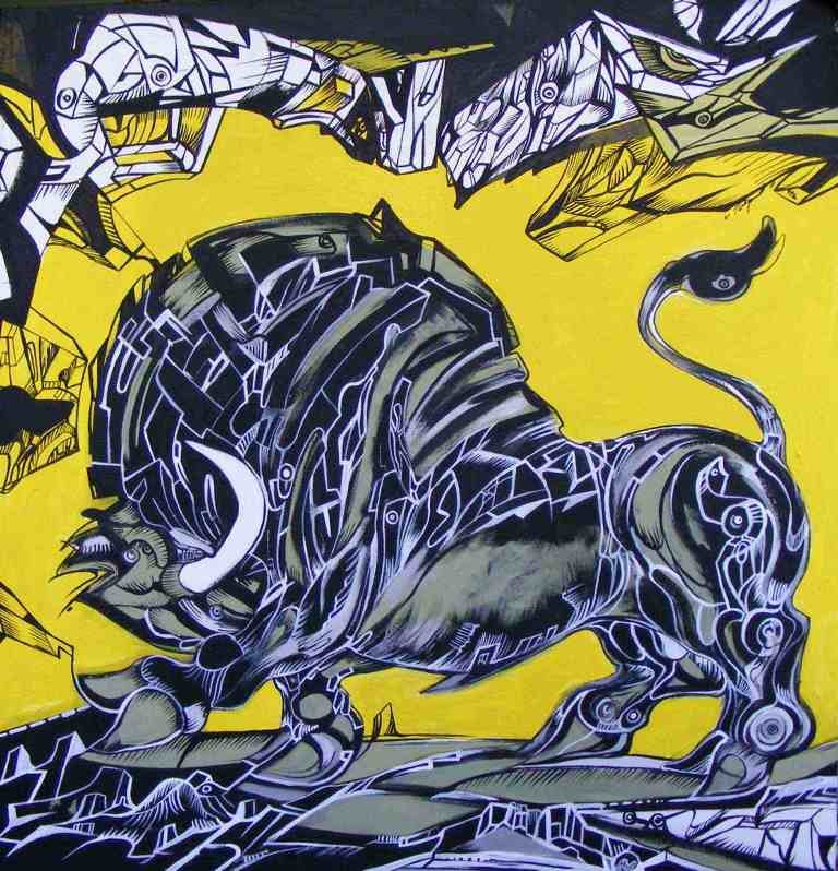 Black and powerful bull on a yellow background, bull painting 1