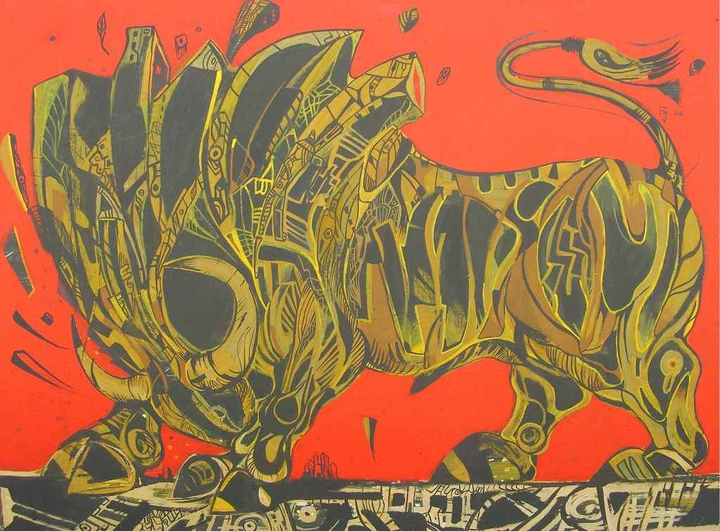 Black yellow bull painting on red.