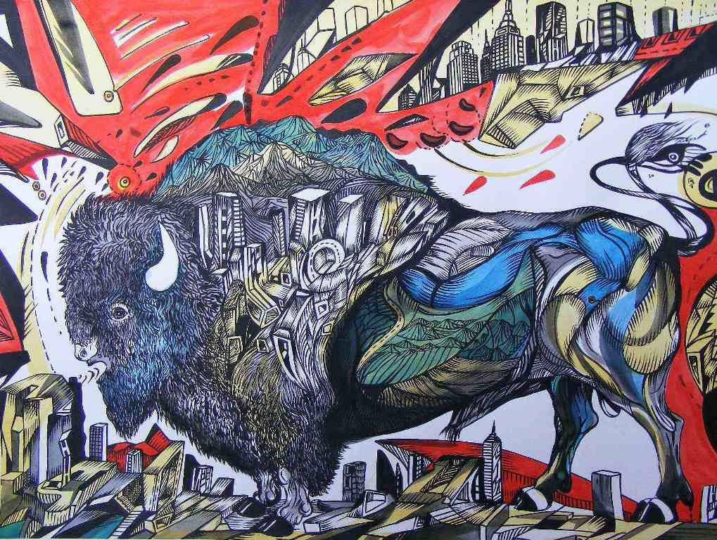 Buffalo city is a painting of a buffalo on paper