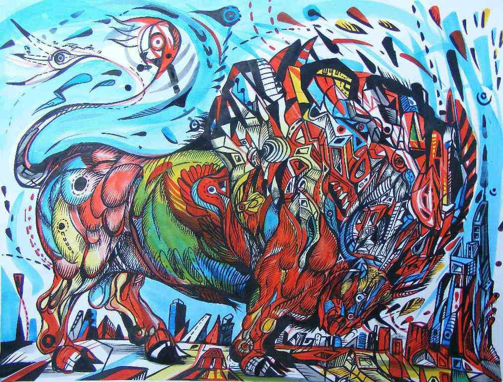 Challenge is a painting that represents bull on a blue sky.