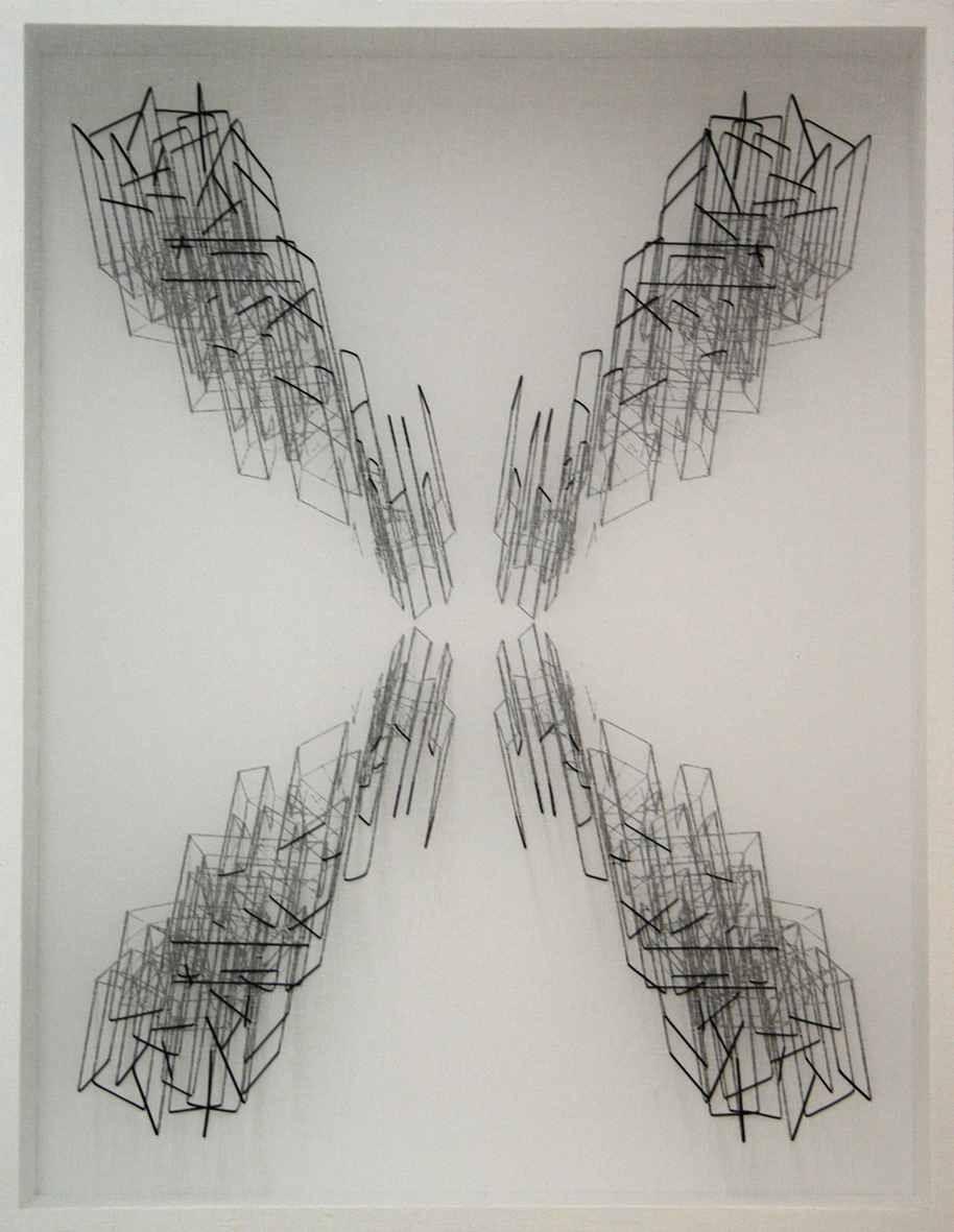 Emanuela Fiorelli - Speculare- con punto interrogativo- tarlatana tinta e filo di cotone su tela serigrafata - 90x70x10 -2011