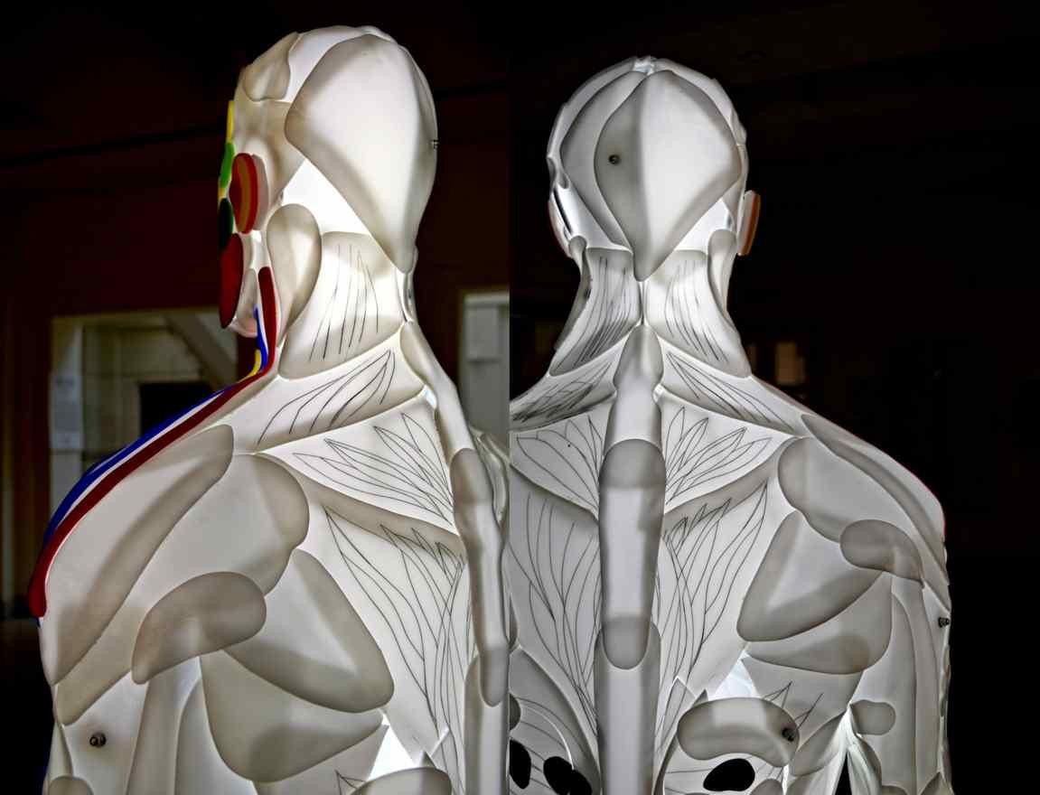 Enlightened man, light sculpture, back view , artist Marko Gavrilovic